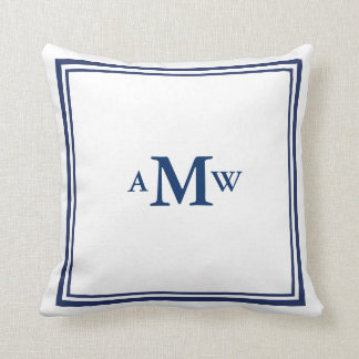 Elegant Monogram Pillow - Navy