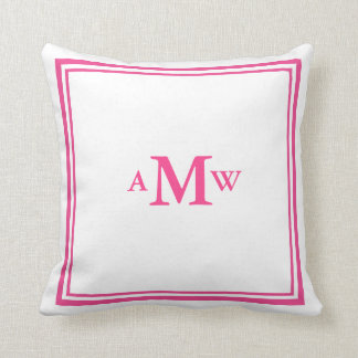 Elegant Monogram Pillow - Pink