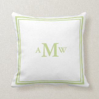 Elegant Monogram Pillow - Sage