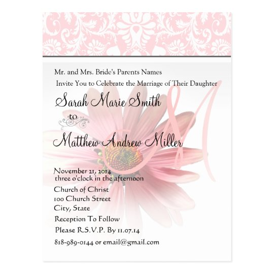 Elegant Monogram Pink Daisy Wedding Invitation Postcard
