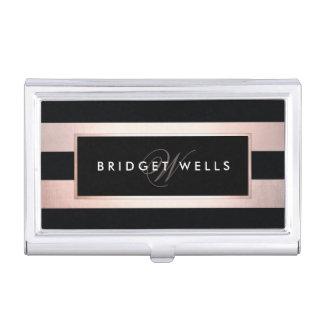 Elegant Monogram Rose Gold and Black Stripes Business Card Holder