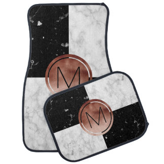 Elegant monogram rose gold black white marble car mat