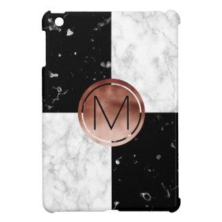 Elegant monogram rose gold black white marble iPad mini cover