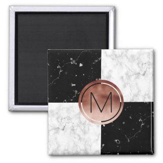 Elegant monogram rose gold black white marble magnet