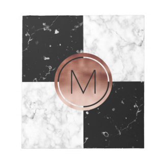 Elegant monogram rose gold black white marble notepad
