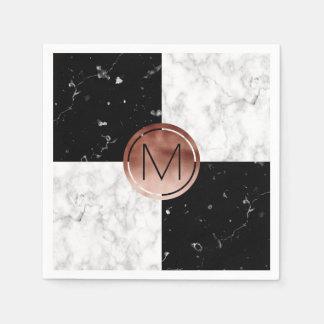 Elegant monogram rose gold black white marble paper napkin