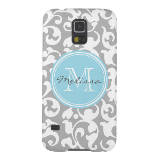 Elegant Monogram Scroll Damask Gray and Baby Blue Galaxy S5 Case