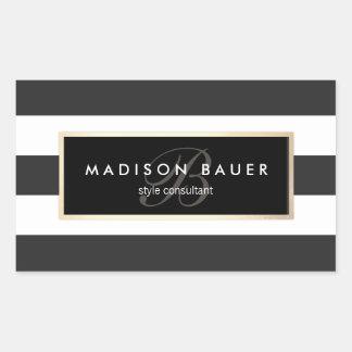 Elegant Monogram Striped Black and White