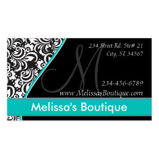 Elegant Monogram teal price tag I Double-Sided Standard Business Cards (Pack Of 100)