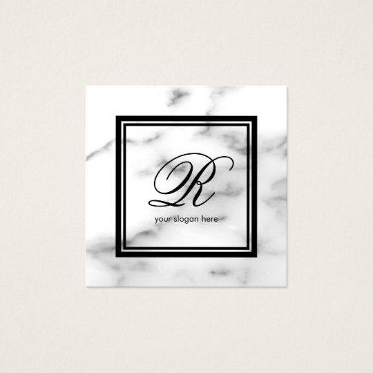 Elegant monogram template white marble stone square business card