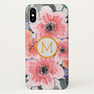 Elegant Monogram Vintage Floral #31 iPhone X Case
