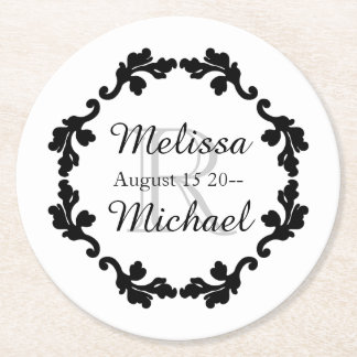 Elegant monogram wedding black white gray round paper coaster