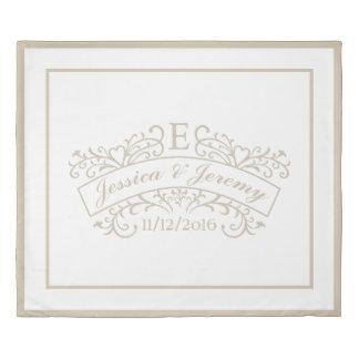Elegant Monogram Wedding Duvet Cover King Size