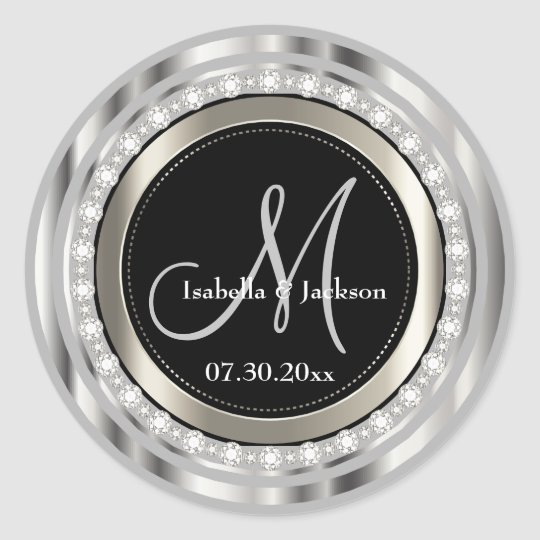 Elegant Monogram Wedding or Anniversary Design Classic Round Sticker