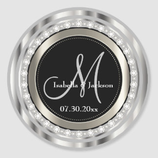Elegant Monogram Wedding or Anniversary Design Round Sticker