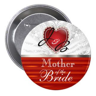 Elegant Monogram Wedding Party in Red & White 3 Inch Round Button