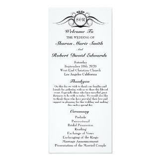 "Elegant Monogram Wedding Program 4"" X 9.25"" Invitation Card"