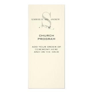 """Elegant Monogram Wedding Programs Cream Paper 4"""" X 9.25"""" Invitation Card"""