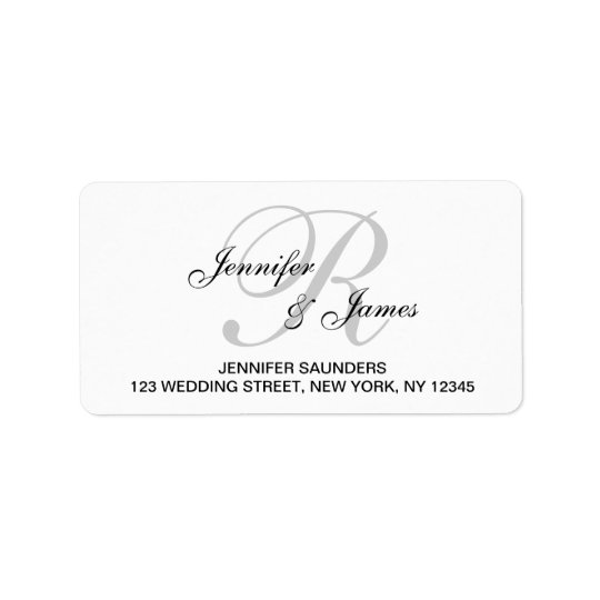 Elegant Monogram Wedding RSVP Return Address Label