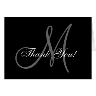 Elegant Monogram Wedding Thank You Card