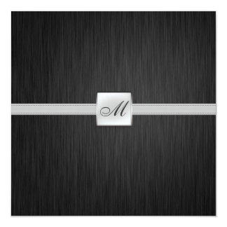 "Elegant Monogram Wedding (with wording) 5.25"" Square Invitation Card"