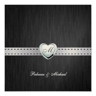 Elegant Monogram Wedding (with wording) Card
