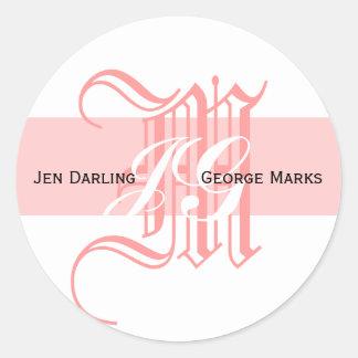 Elegant Monogram White and Pink Wedding Sticker