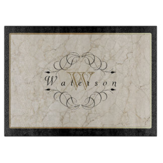 Elegant Monogram White Marble Ornament Gold Black Boards