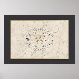 Elegant Monogram White Marble Ornament Gold Black Poster