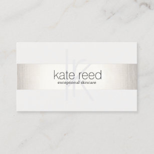 Business cards business card printing zazzle canada elegant monogram white modern faux silver striped business card reheart Images