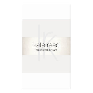 Elegant Monogram White Modern FAUX Silver Striped Business Card