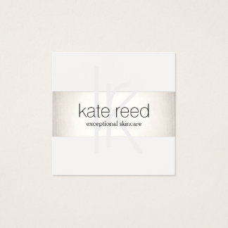Elegant Monogram White Modern FAUX Silver Striped Square Business Card