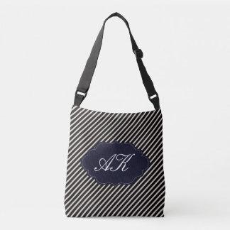 Elegant Monogram with Stripes Crossbody Bag