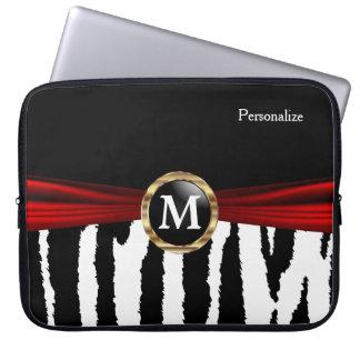 Elegant Monogram Zebra Animal Stripes Laptop Computer Sleeve