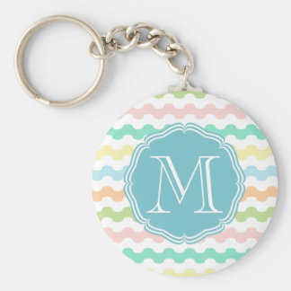 Elegant monograma blue with waves of colors keychain