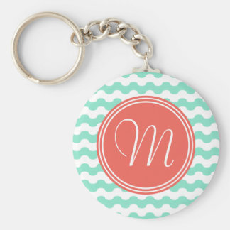 Elegant monograma choral with waves in green keychain