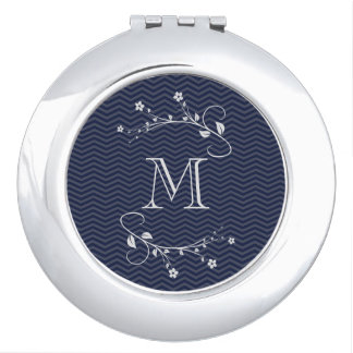 Elegant monograma with flowers and chevrón blue makeup mirrors