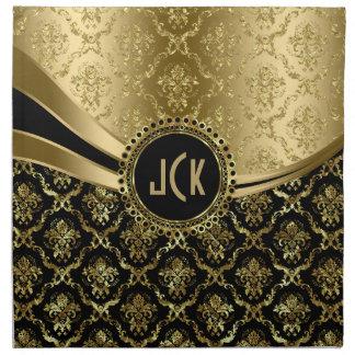Elegant Monogramed Black & Gold Floral Damasks 2c Napkin