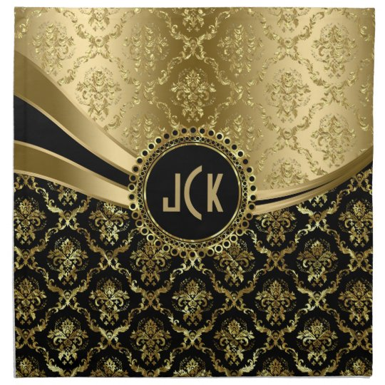 Elegant Monogramed Black & Gold Floral Damasks 2c Printed Napkins