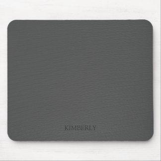 Elegant Monogramed Vintage Gray Faux Leather Mouse Pad