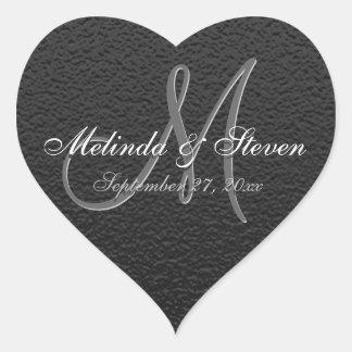 Elegant Monogrammed Black Texture Heart Sticker