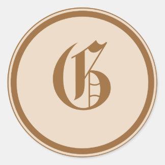 Elegant Monogrammed Classic Round Sticker