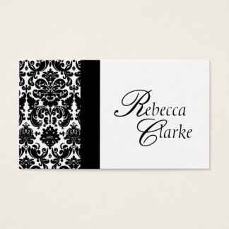 Elegant Monogrammed Damask Busines Card