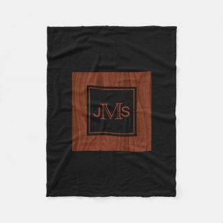 Elegant Monogrammed Initials | Mahogany Wood Grain Fleece Blanket