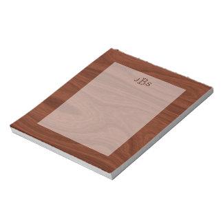 Elegant Monogrammed Initials | Mahogany Wood Grain Notepad