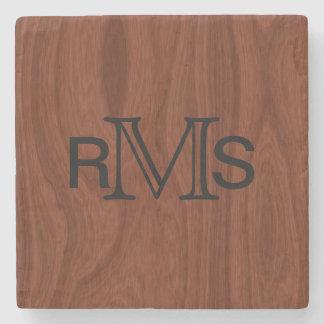 Elegant Monogrammed Initials | Mahogany Wood Grain Stone Beverage Coaster