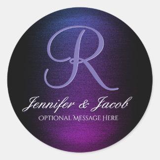 Elegant Monogrammed Purple and Black Round Sticker