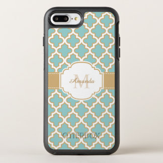 Elegant Moroccan Pattern Gold Teal Blue Monogram OtterBox Symmetry iPhone 7 Plus Case