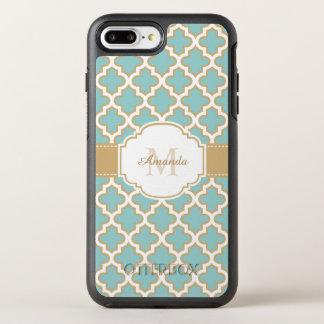 Elegant Moroccan Pattern Gold Teal Blue Monogram OtterBox Symmetry iPhone 8 Plus/7 Plus Case