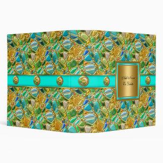 Elegant Mosaic Teal Blue Aqua Gold Button Binder